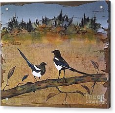 Magpies In The Last Of Autumns Leaves Acrylic Print by Carolyn Doe
