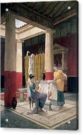 Maidens In A Classical Interior Acrylic Print by Luigi Bazzani