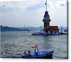 Acrylic Print featuring the photograph Maidens Tower Istanbul by Lou Ann Bagnall