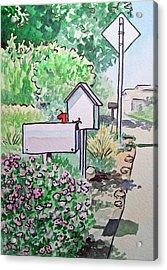 Mail Boxes Sketchbook Project Down My Street Acrylic Print by Irina Sztukowski