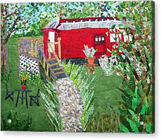 Mail Car Guest House At Lacaboose B And B Acrylic Print by Charlene White