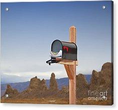 Mailbox In Desert Acrylic Print by David Buffington