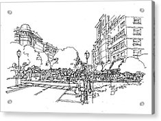 Acrylic Print featuring the drawing Main Street by Andrew Drozdowicz