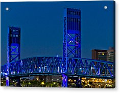 Main Street Bridge Jacksonville Acrylic Print by Debra and Dave Vanderlaan