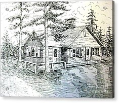 Acrylic Print featuring the drawing Maine House by Gretchen Allen