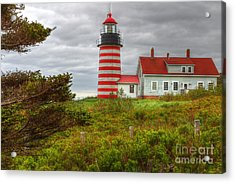 Maine Lighthouse At Lubec. Acrylic Print by Rick Mann