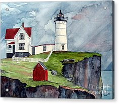 Acrylic Print featuring the painting Maine Lighthouse by Tom Riggs