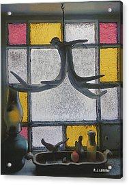 Maine Window In Winter Acrylic Print