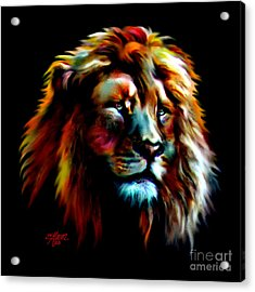 Acrylic Print featuring the painting Majestic Lion by Elinor Mavor