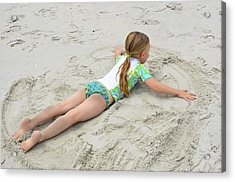 Acrylic Print featuring the photograph Making A Sand Angel by Maureen E Ritter