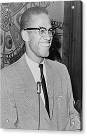 Malcolm X 1925-1965 Speaking In 1964 Acrylic Print by Everett