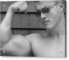Male Muscle Art  Poser Acrylic Print by Jake Hartz