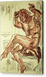 Male Nude Figure Drawing Sketch With Power Dynamics Struggle Angst Fear And Trepidation In Charcoal Acrylic Print by MendyZ M Zimmerman