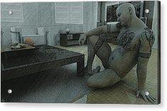 Male Nude Study Acrylic Print by Maynard Ellis