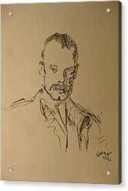 Acrylic Print featuring the painting Male Portrait Sketch As A Tribute To Jss by M Zimmerman
