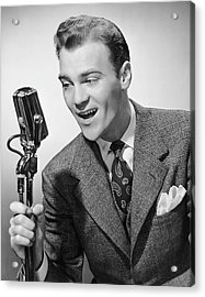 Male Singer Holding Microphone Acrylic Print by George Marks