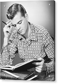Male Student Reading, (b&w), Acrylic Print by George Marks