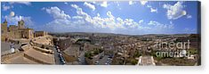 Malta Panoramic View Of Valletta  Acrylic Print by Guy Viner
