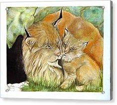 Mama And Baby Lynx Acrylic Print by Sandra Valentini