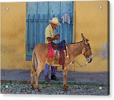 Acrylic Print featuring the photograph Man And A Donkey by Lynn Bolt