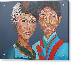 Man And  Wife Acrylic Print by Mao Soviet and  phin Sophorn