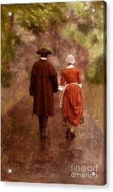 Man And Woman In 18th Century Clothing Walking Acrylic Print by Jill Battaglia