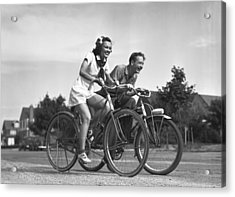 Man And Woman Riding Bicycles, (b&w), Acrylic Print by George Marks