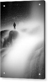Man At Waterfall Acrylic Print