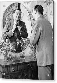 Man Checking Himself Out In Mirror Acrylic Print by George Marks