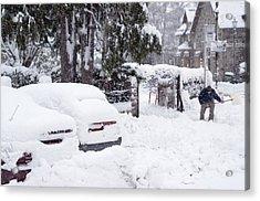 Man Clearing Snow, Braemar, Scotland Acrylic Print by Duncan Shaw