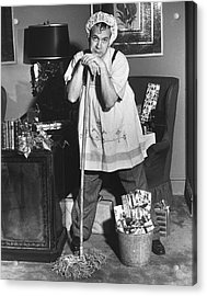 Man Dressed As Cleaning Woman In Office Acrylic Print by George Marks