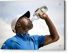 Man Drinking Bottled Water Acrylic Print by