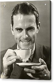 Man Drinking Cup Of Coffee Acrylic Print by George Marks