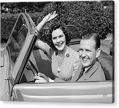 Man Driving Car And Woman Waving Acrylic Print by George Marks