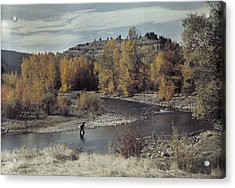 Man Fishes For Trout In The Naches Acrylic Print by Clifton R Adams