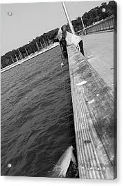 Man Fishing With Net Acrylic Print