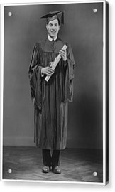 Man  In Graduation Gown Posing In Studio, (b&w), Portrait Acrylic Print by George Marks