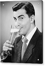 Man In Suit Drinking Tall Glass Of Beer Acrylic Print by George Marks
