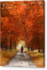 Man In Suit On Rural Road In Autumn Acrylic Print by Jill Battaglia