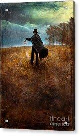 Man In Top Hat And Cape Walking In Rain Acrylic Print by Jill Battaglia