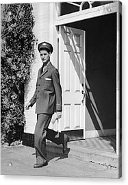 Man In Uniform Walking Out Door Acrylic Print by George Marks