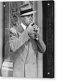 Man Lighting Cigarette Acrylic Print by George Marks