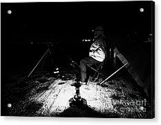 Man Nighttime Fishing Acrylic Print by Joe Fox