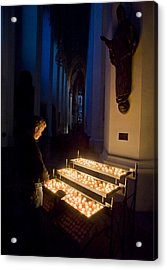 Man Prays By Candles At Frauenkirche Acrylic Print by Greg Dale