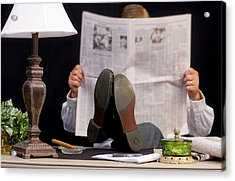 Man Read Newspaper Acrylic Print by Trudy Wilkerson