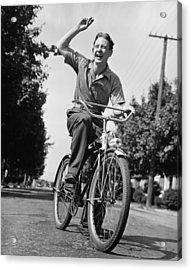Man Riding Bicycle, Waving, (b&w) Acrylic Print by George Marks
