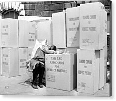 Man Sleeping On Box Outdoors (b&w) Acrylic Print by Hulton Archive
