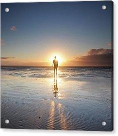 Man Walking On Beach At Sunset Acrylic Print by Stu Meech