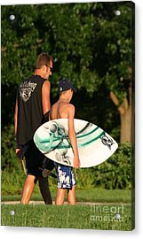 Man Walking With Teen Who Is Carrying A Skim Board Acrylic Print