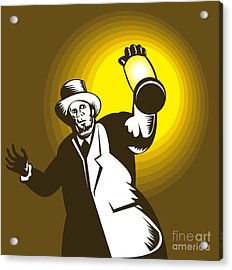 Man Wearing Top Hat And Holding Lantern Acrylic Print by Aloysius Patrimonio